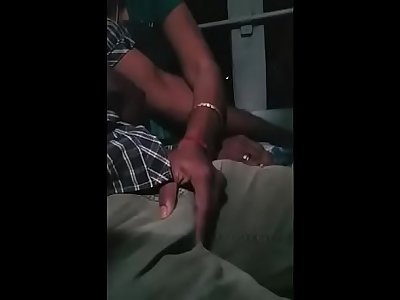 Tamil young married couple grouped encoxada and hand job in bus while travelling for honeymoon